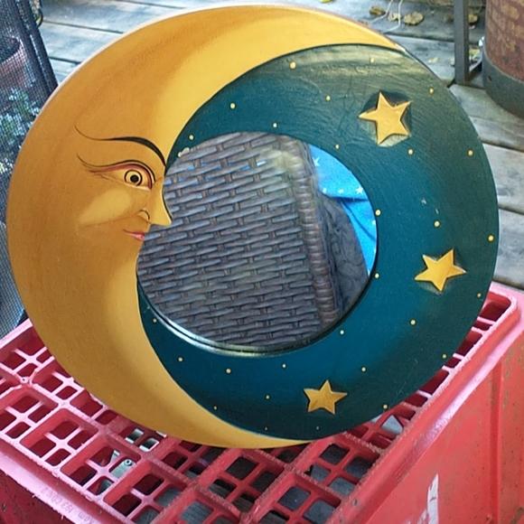 NWOT Beautiful Handmade Moon & Stars Mirror